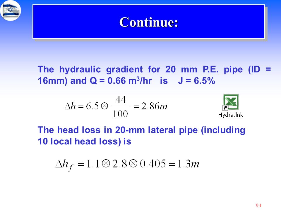 94 The hydraulic gradient for 20 mm P.E. pipe (ID = 16mm) and Q = 0.66 m 3 /hr is J = 6.5% The head loss in 20-mm lateral pipe (including 10 local hea