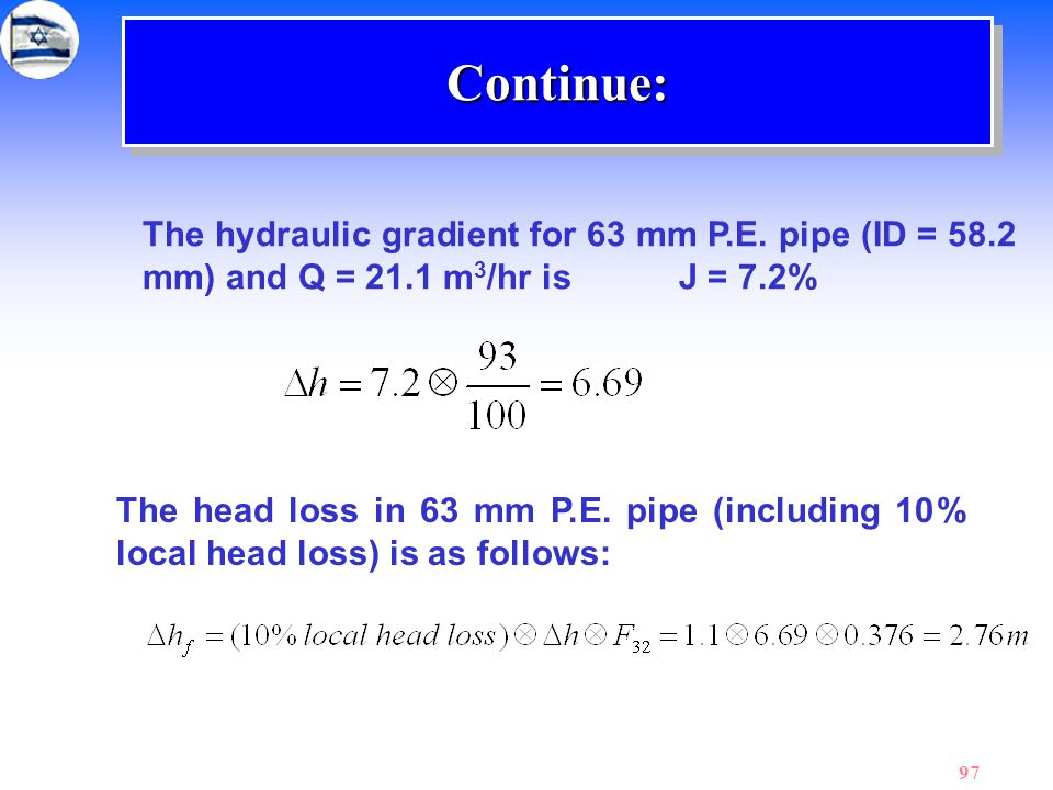 97 The hydraulic gradient for 63 mm P.E. pipe (ID = 58.2 mm) and Q = 21.1 m 3 /hr is J = 7.2% The head loss in 63 mm P.E. pipe (including 10% local he