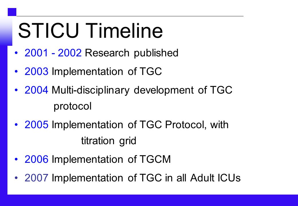 STICU Timeline 2001 - 2002 Research published 2003 Implementation of TGC 2004 Multi-disciplinary development of TGC protocol 2005 Implementation of TGC Protocol, with titration grid 2006 Implementation of TGCM 2007 Implementation of TGC in all Adult ICUs