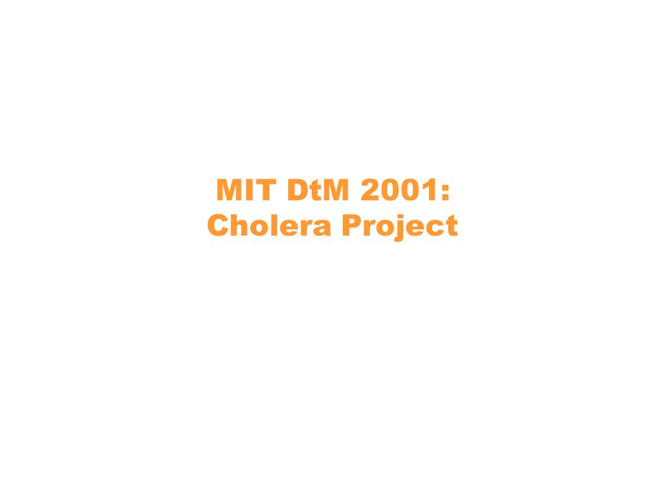 MIT DtM 2001: Cholera Project