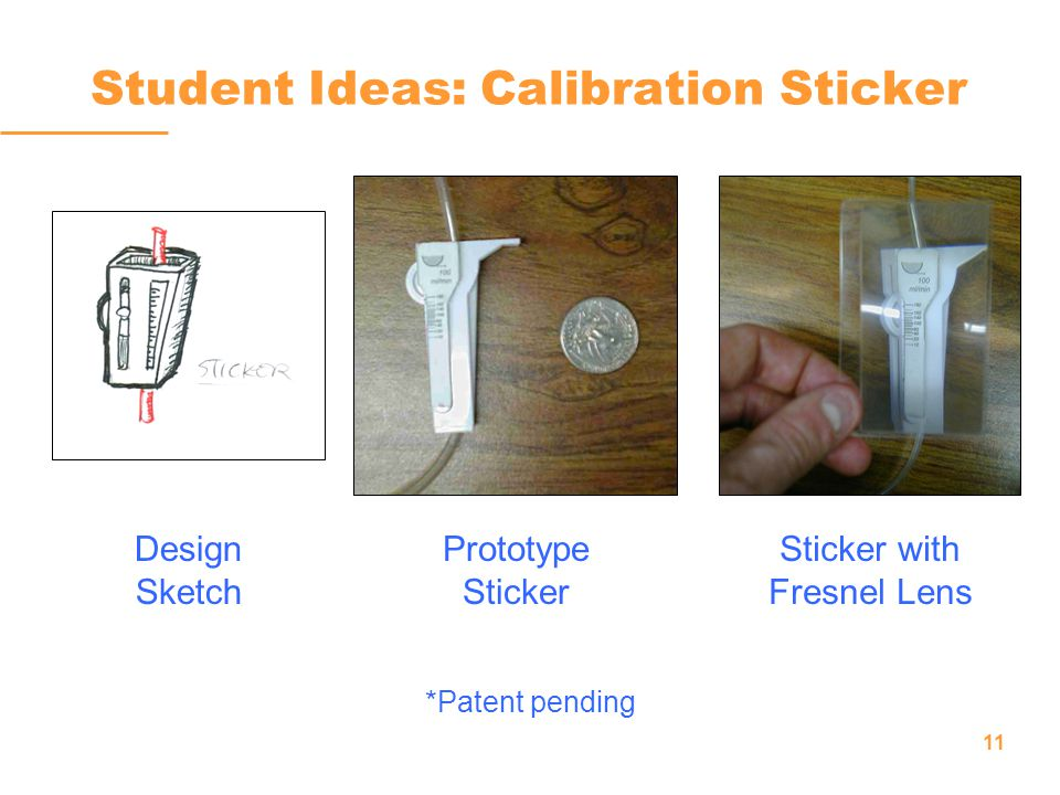 11 Student Ideas: Calibration Sticker Design Sketch Prototype Sticker Sticker with Fresnel Lens *Patent pending