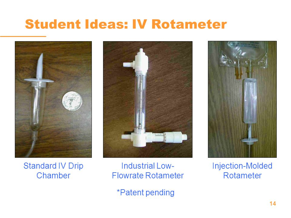 14 Student Ideas: IV Rotameter Standard IV Drip Chamber Industrial Low- Flowrate Rotameter Injection-Molded Rotameter *Patent pending
