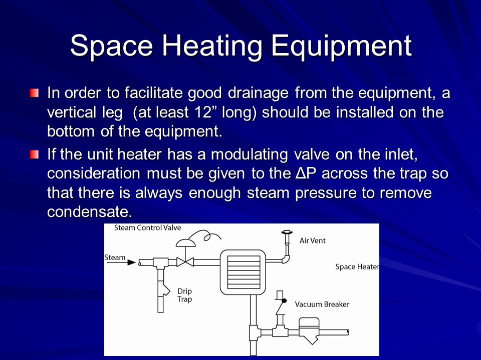 """Space Heating Equipment In order to facilitate good drainage from the equipment, a vertical leg (at least 12"""" long) should be installed on the bottom"""
