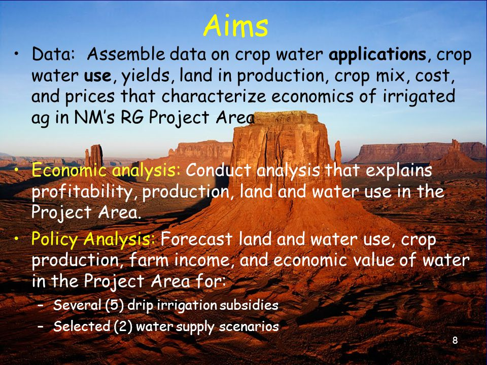 Irrigable land, EBID supplies Hydrologic balance Institutional –Endangered Species Act –Rio Grande Compact (CO-NM; NM-TX) –US Mexico Treaty of 1906 –Rio Grande Project operation agreement (NM/TX) –No increase in water depletions: NM OSE 29 Constraints