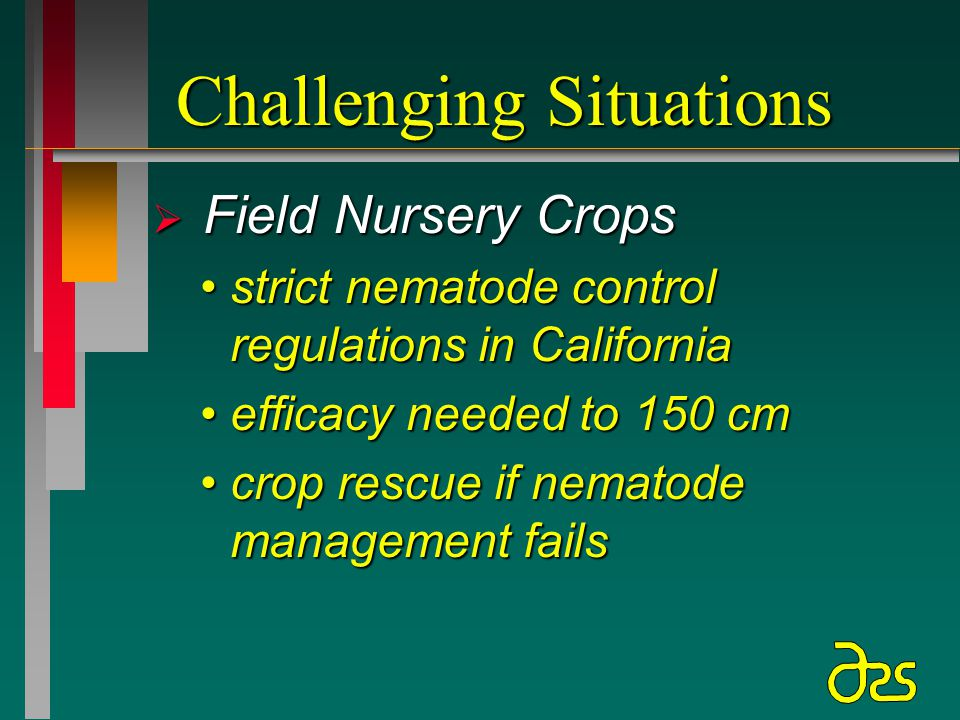 Challenging Situations  Field Nursery Crops strict nematode control regulations in Californiastrict nematode control regulations in California efficacy needed to 150 cmefficacy needed to 150 cm crop rescue if nematode management failscrop rescue if nematode management fails