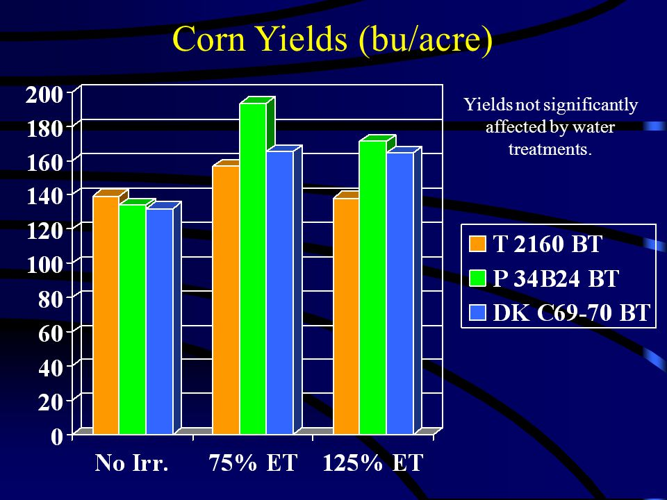 Corn Yields (bu/acre) Yields not significantly affected by water treatments.
