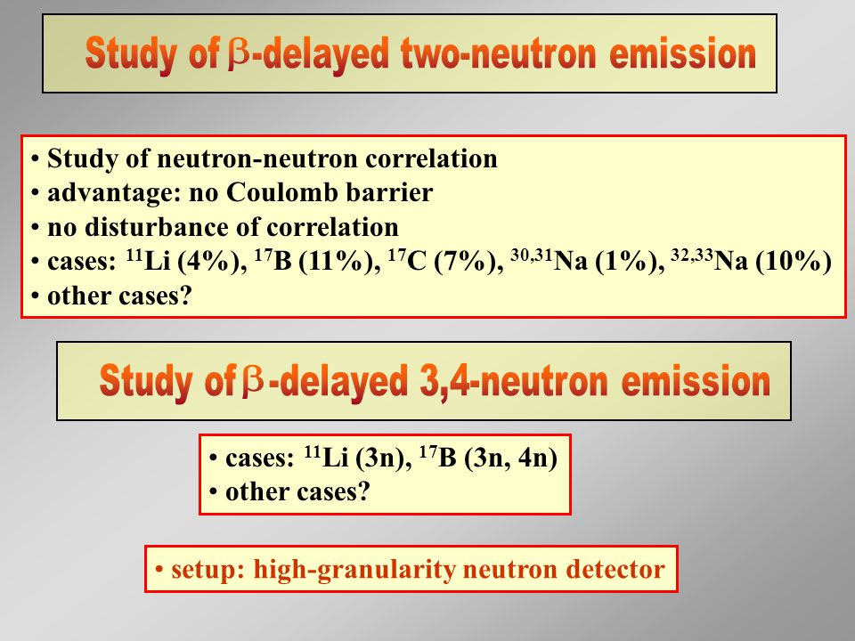 Study of neutron-neutron correlation advantage: no Coulomb barrier no disturbance of correlation cases: 11 Li (4%), 17 B (11%), 17 C (7%), 30,31 Na (1%), 32,33 Na (10%) other cases.