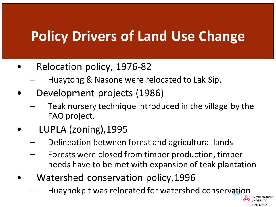 Policy Drivers of Land Use Change Relocation policy, 1976-82 –Huaytong & Nasone were relocated to Lak Sip.