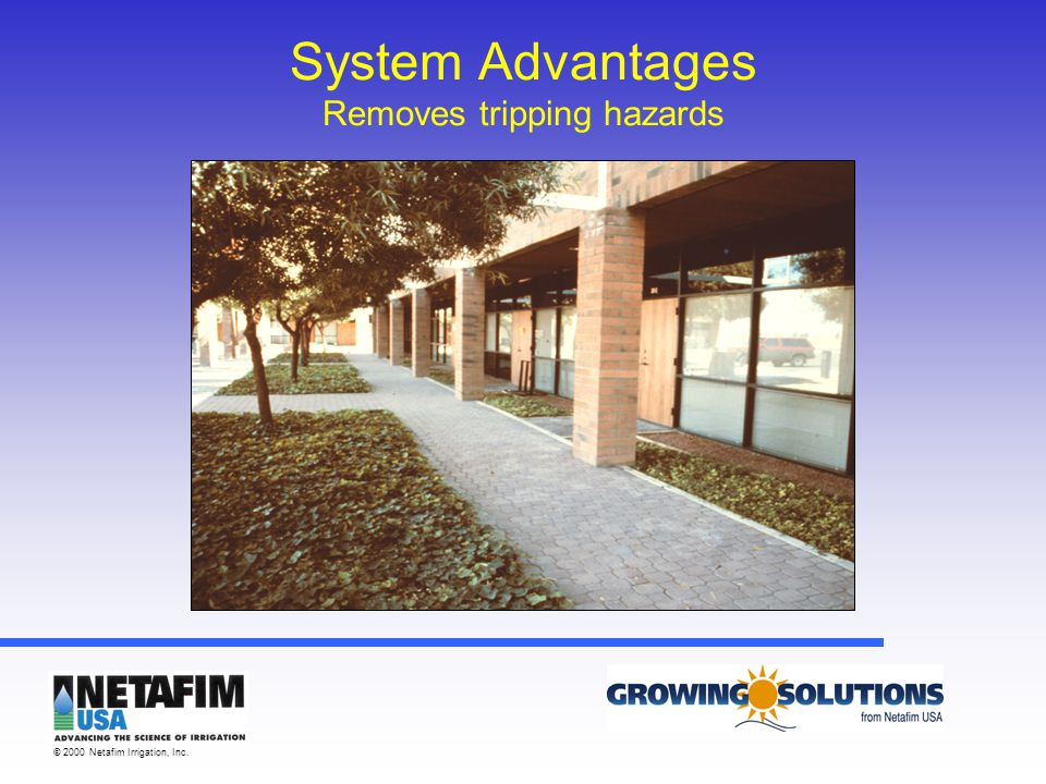 © 2000 Netafim Irrigation, Inc. System Advantages Removes tripping hazards