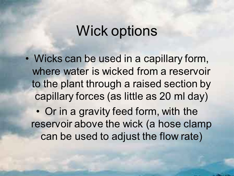 Wick options Wicks can be used in a capillary form, where water is wicked from a reservoir to the plant through a raised section by capillary forces (as little as 20 ml day) Or in a gravity feed form, with the reservoir above the wick (a hose clamp can be used to adjust the flow rate)