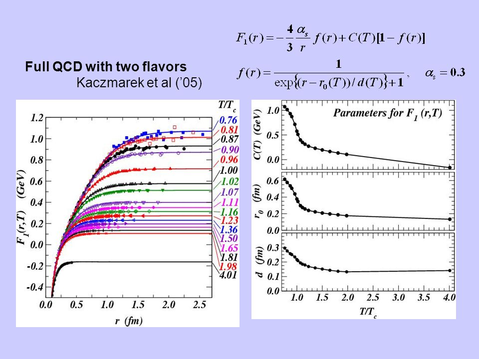 Full QCD with two flavors Kaczmarek et al ('05)