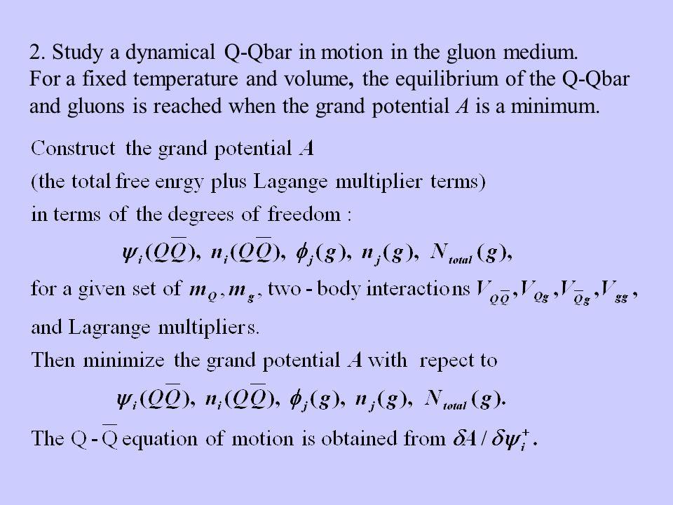 2. Study a dynamical Q-Qbar in motion in the gluon medium.