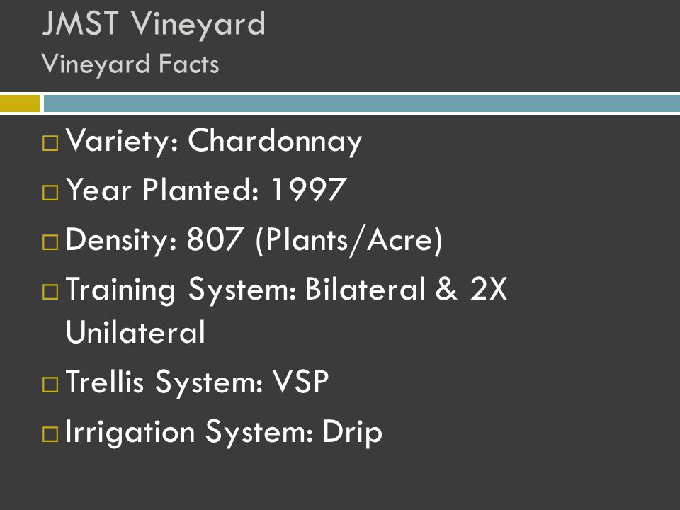 JMST Vineyard Vineyard Facts  Variety: Chardonnay  Year Planted: 1997  Density: 807 (Plants/Acre)  Training System: Bilateral & 2X Unilateral  Trellis System: VSP  Irrigation System: Drip