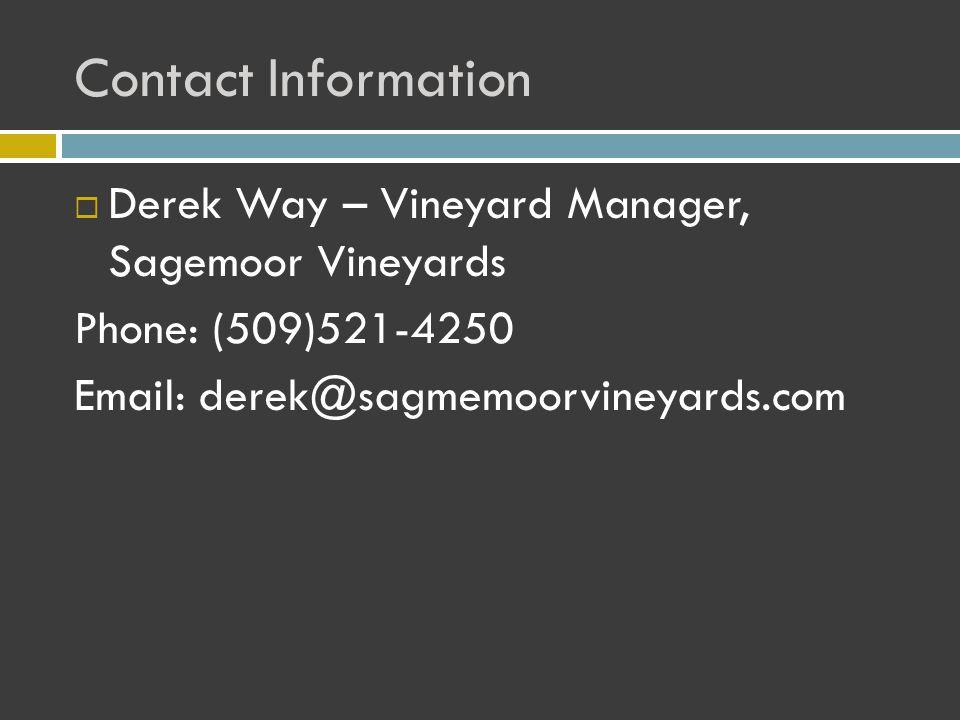 Contact Information  Derek Way – Vineyard Manager, Sagemoor Vineyards Phone: (509)521-4250 Email: derek@sagmemoorvineyards.com