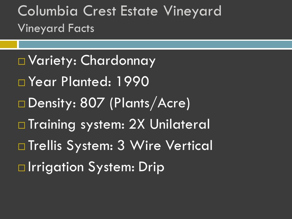 Columbia Crest Estate Vineyard Vineyard Facts  Variety: Chardonnay  Year Planted: 1990  Density: 807 (Plants/Acre)  Training system: 2X Unilateral  Trellis System: 3 Wire Vertical  Irrigation System: Drip