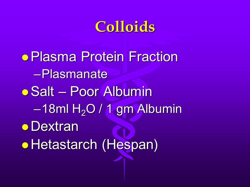 Colloids l Plasma Protein Fraction –Plasmanate l Salt – Poor Albumin –18ml H 2 O / 1 gm Albumin l Dextran l Hetastarch (Hespan)