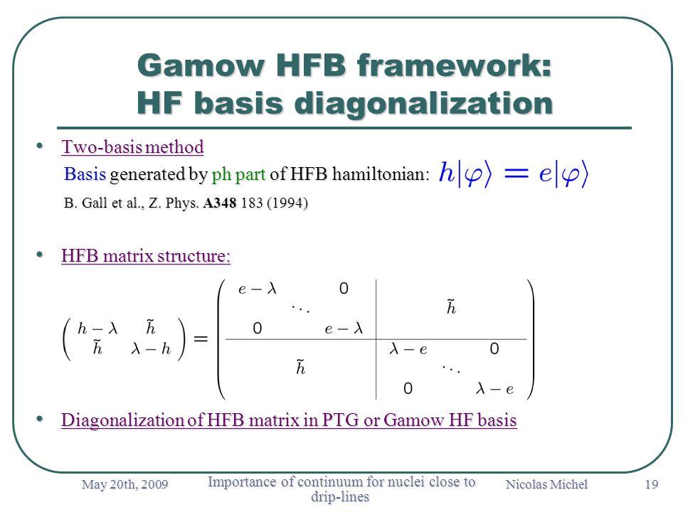 May 20th, 2009 Importance of continuum for nuclei close to drip-lines Importance of continuum for nuclei close to drip-lines Nicolas Michel 19 Gamow HFB framework: HF basis diagonalization Two-basis method Two-basis method Basis generated by ph part of HFB hamiltonian: Basis generated by ph part of HFB hamiltonian: B.