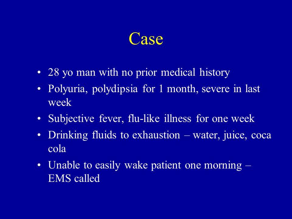 Awake but lethargic on admission to ER BP 92/50, pulse 128, T 99, 90 kg Dry membranes Stat labs: Anion gap = 26 Data 132 4.514 1478 9252 3.2 Arterial pH= 7.29 Urine ketones = 2+ Plasma ketones = Moderate Phos = 0.9 Mg = 2.0 WBC = 10, 000, 80% lymph HCT = 44
