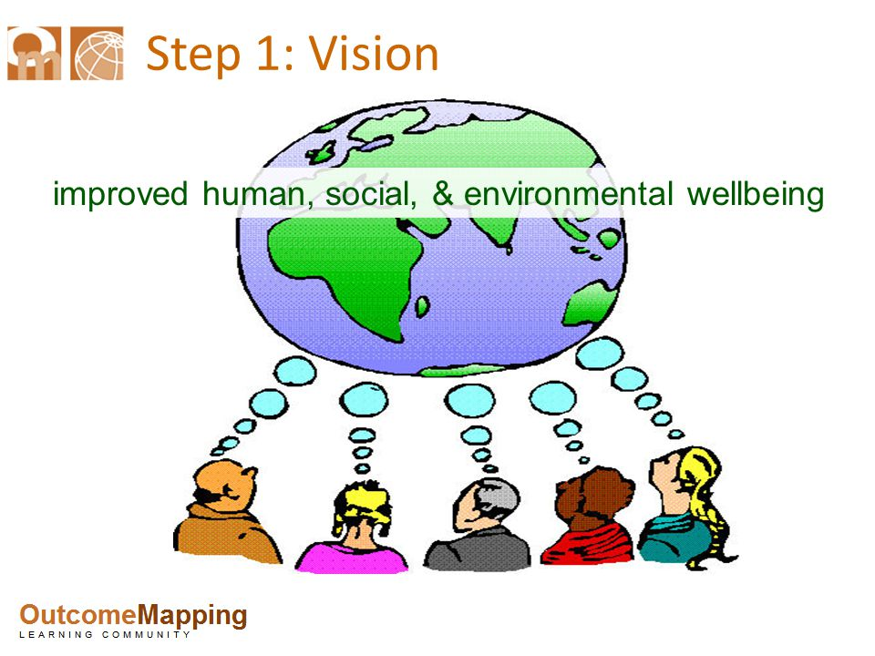 Step 1: Vision improved human, social, & environmental wellbeing