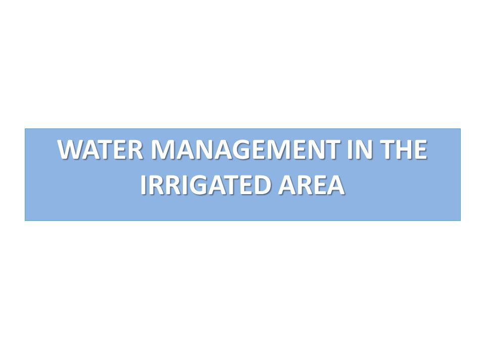 WATER MANAGEMENT IN THE IRRIGATED AREA