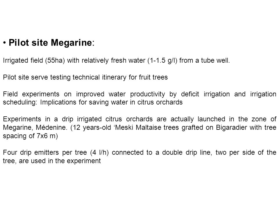 Pilot site Megarine: Irrigated field (55ha) with relatively fresh water (1-1.5 g/l) from a tube well.