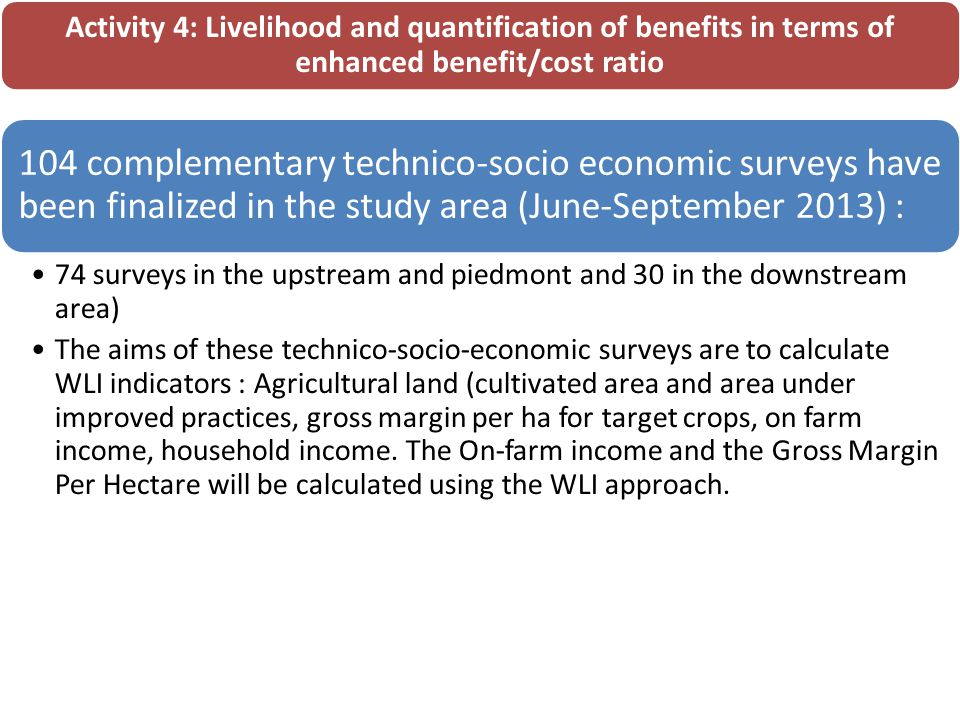 Activity 4: Livelihood and quantification of benefits in terms of enhanced benefit/cost ratio 104 complementary technico-socio economic surveys have been finalized in the study area (June-September 2013) : 74 surveys in the upstream and piedmont and 30 in the downstream area) The aims of these technico-socio-economic surveys are to calculate WLI indicators : Agricultural land (cultivated area and area under improved practices, gross margin per ha for target crops, on farm income, household income.
