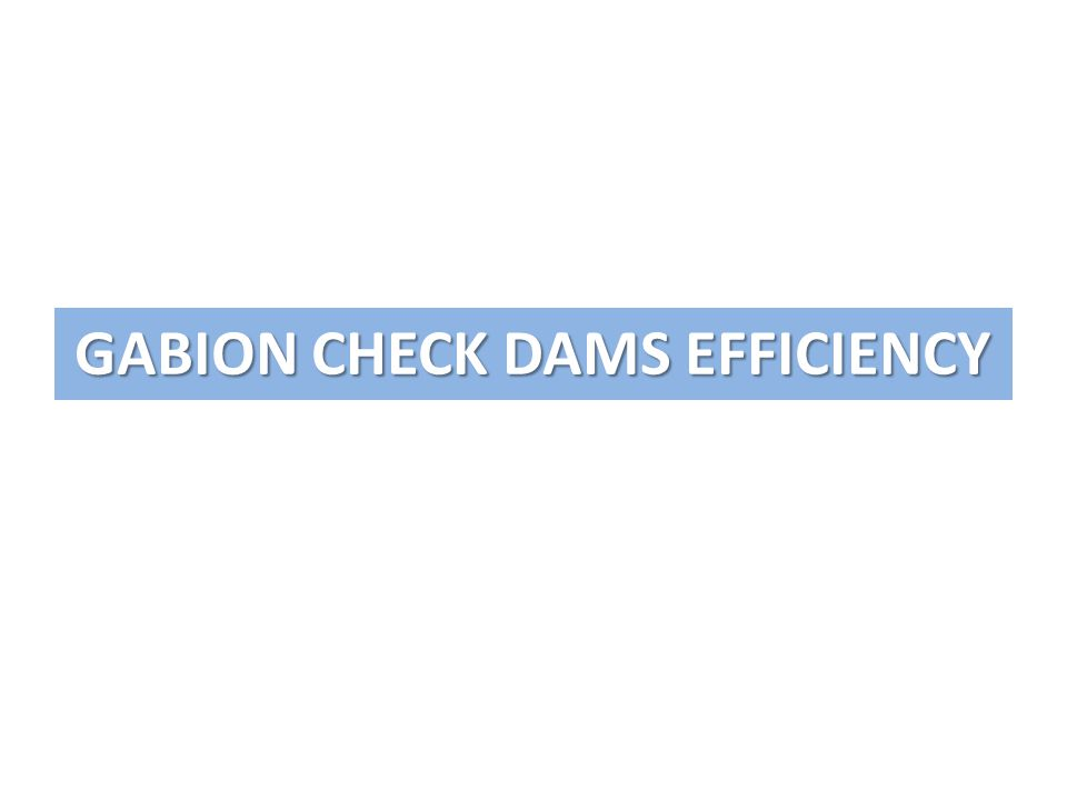 GABION CHECK DAMS EFFICIENCY