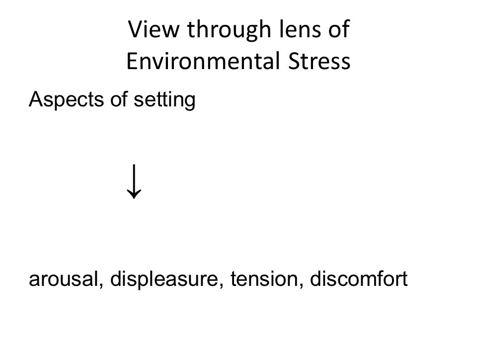 View through lens of Environmental Stress Aspects of setting ↓ arousal, displeasure, tension, discomfort