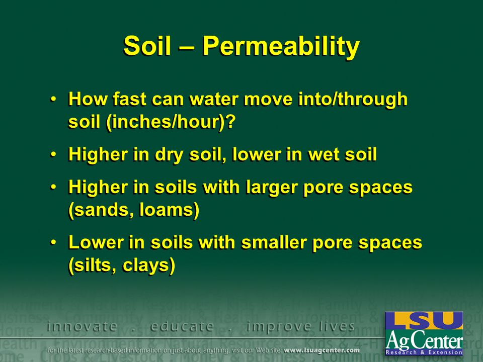 Soil – Permeability How fast can water move into/through soil (inches/hour).