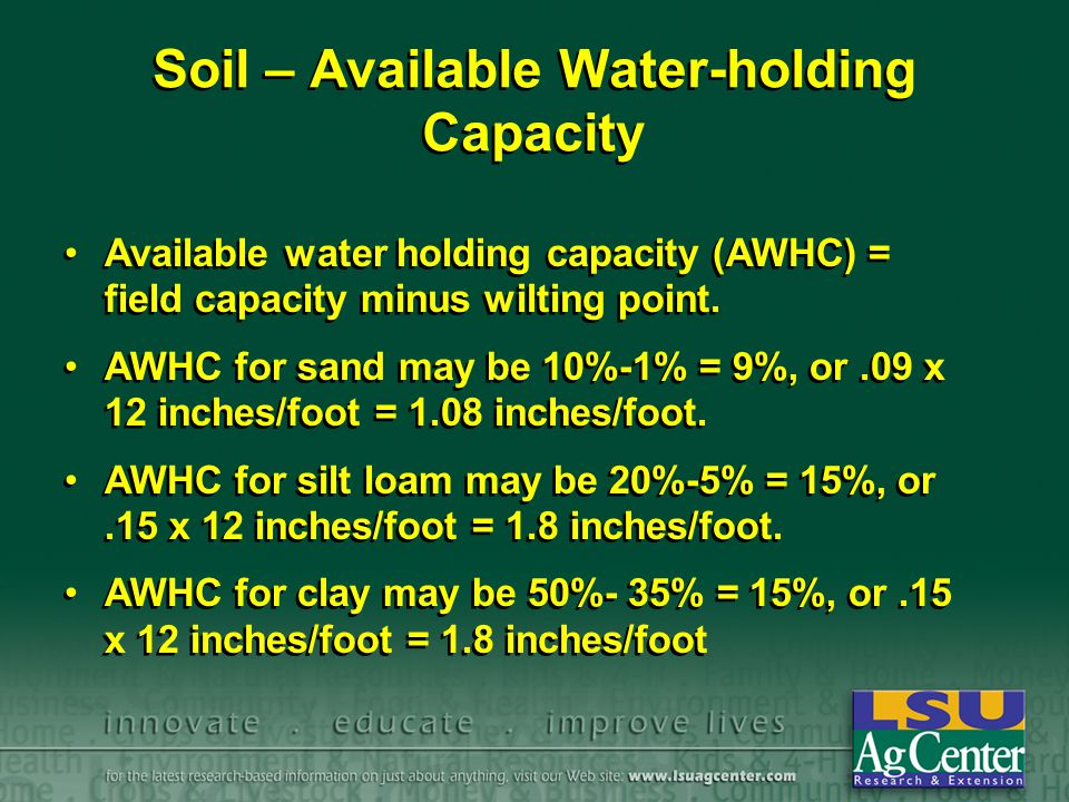 Soil – Available Water-holding Capacity Available water holding capacity (AWHC) = field capacity minus wilting point.