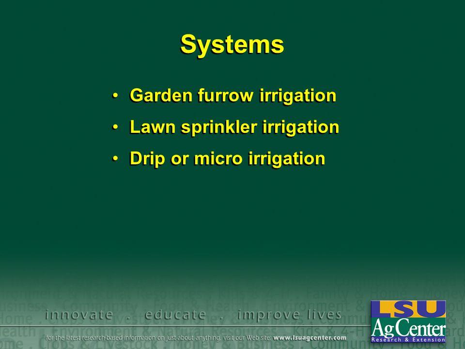 Systems Garden furrow irrigation Lawn sprinkler irrigation Drip or micro irrigation Garden furrow irrigation Lawn sprinkler irrigation Drip or micro irrigation