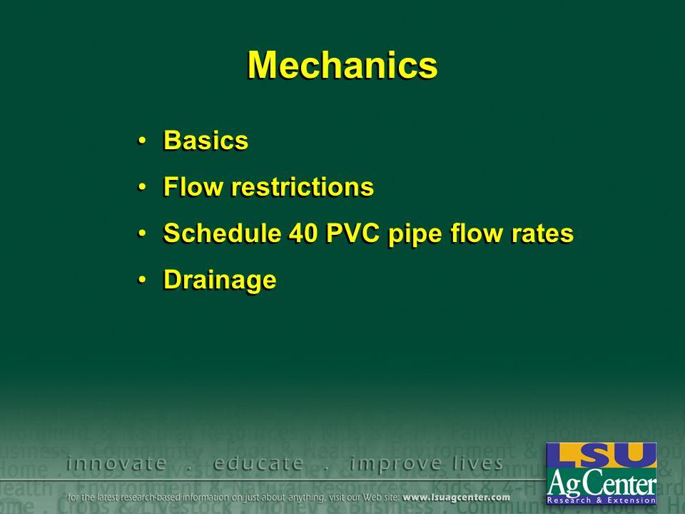 Mechanics Basics Flow restrictions Schedule 40 PVC pipe flow rates Drainage Basics Flow restrictions Schedule 40 PVC pipe flow rates Drainage