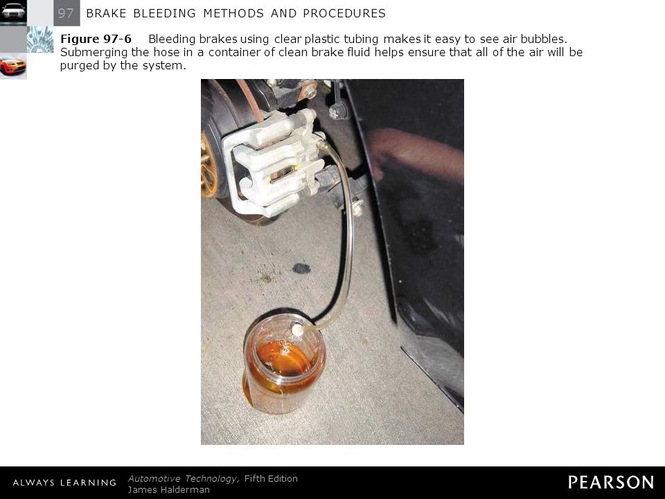 97 BRAKE BLEEDING METHODS AND PROCEDURES Automotive Technology, Fifth Edition James Halderman © 2011 Pearson Education, Inc. All Rights Reserved Figur