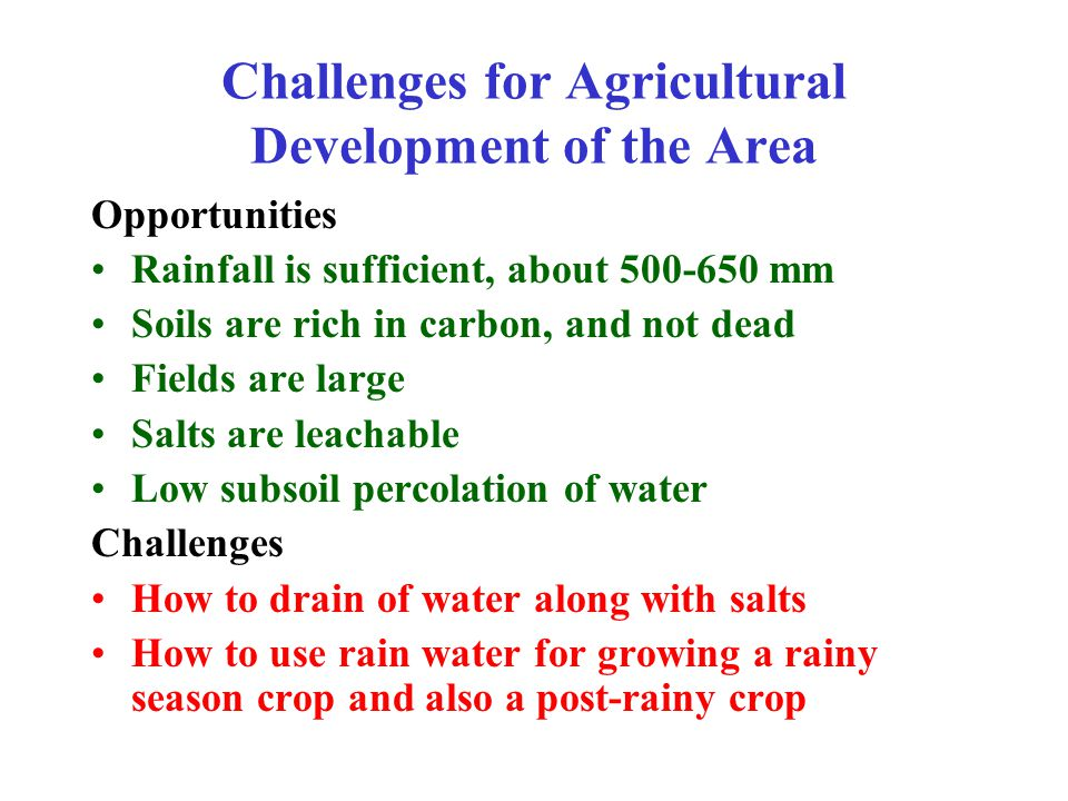 Challenges for Agricultural Development of the Area Opportunities Rainfall is sufficient, about 500-650 mm Soils are rich in carbon, and not dead Fields are large Salts are leachable Low subsoil percolation of water Challenges How to drain of water along with salts How to use rain water for growing a rainy season crop and also a post-rainy crop
