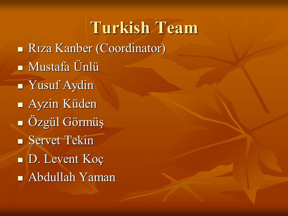 Turkish Team Rıza Kanber (Coordinator) Rıza Kanber (Coordinator) Mustafa Ünlü Mustafa Ünlü Yusuf Aydin Yusuf Aydin Ayzin Küden Ayzin Küden Özgül Görmü