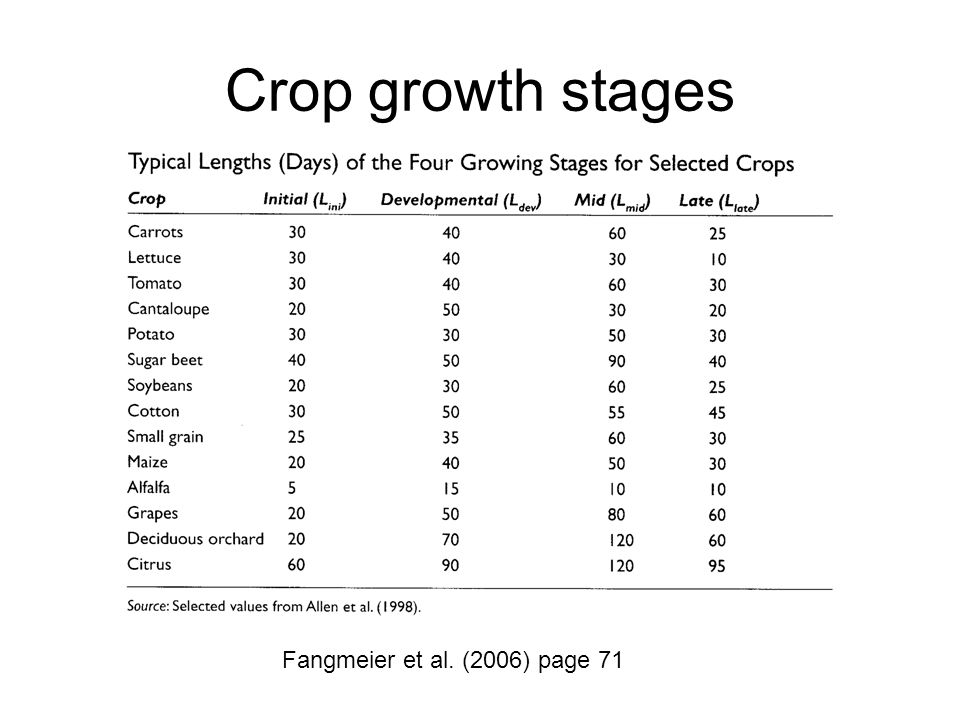 Crop growth stages Fangmeier et al. (2006) page 71