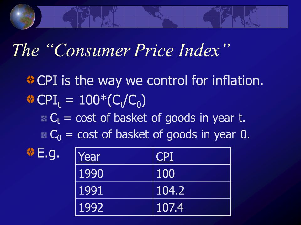 The Consumer Price Index CPI is the way we control for inflation.