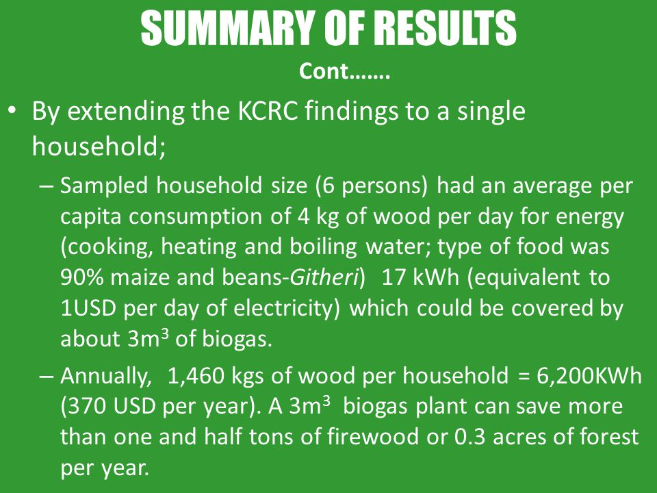 SUMMARY OF RESULTS Cont……. By extending the KCRC findings to a single household; – Sampled household size (6 persons) had an average per capita consum