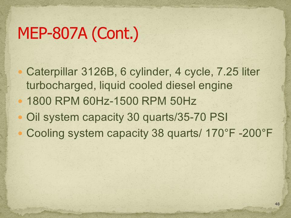 Caterpillar 3126B, 6 cylinder, 4 cycle, 7.25 liter turbocharged, liquid cooled diesel engine 1800 RPM 60Hz-1500 RPM 50Hz Oil system capacity 30 quarts