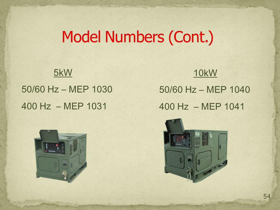 54 5kW 50/60 Hz – MEP 1030 400 Hz – MEP 1031 10kW 50/60 Hz – MEP 1040 400 Hz – MEP 1041