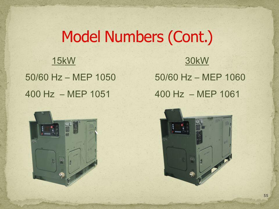 55 15kW 50/60 Hz – MEP 1050 400 Hz – MEP 1051 30kW 50/60 Hz – MEP 1060 400 Hz – MEP 1061