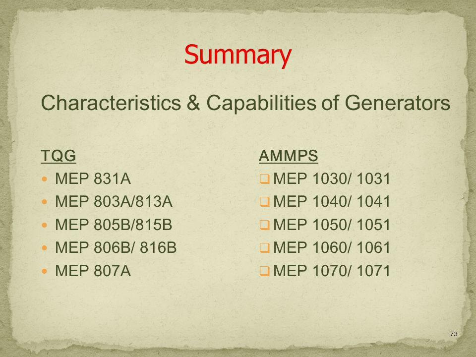 73 TQG MEP 831A MEP 803A/813A MEP 805B/815B MEP 806B/ 816B MEP 807A AMMPS  MEP 1030/ 1031  MEP 1040/ 1041  MEP 1050/ 1051  MEP 1060/ 1061  MEP 1070/ 1071 Characteristics & Capabilities of Generators
