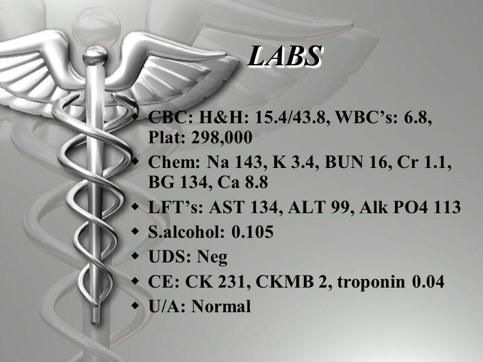 LABSLABS  CBC: H&H: 15.4/43.8, WBC's: 6.8, Plat: 298,000  Chem: Na 143, K 3.4, BUN 16, Cr 1.1, BG 134, Ca 8.8  LFT's: AST 134, ALT 99, Alk PO4 113  S.alcohol: 0.105  UDS: Neg  CE: CK 231, CKMB 2, troponin 0.04  U/A: Normal