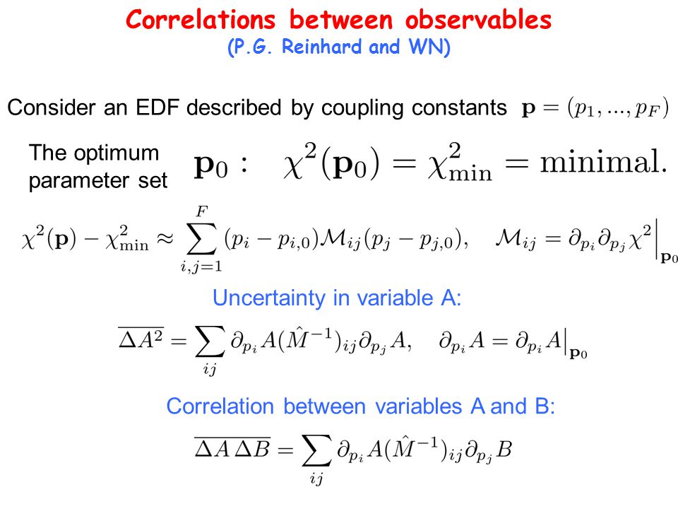Correlations between observables (P.G. Reinhard and WN) Consider an EDF described by coupling constants The optimum parameter set Uncertainty in varia