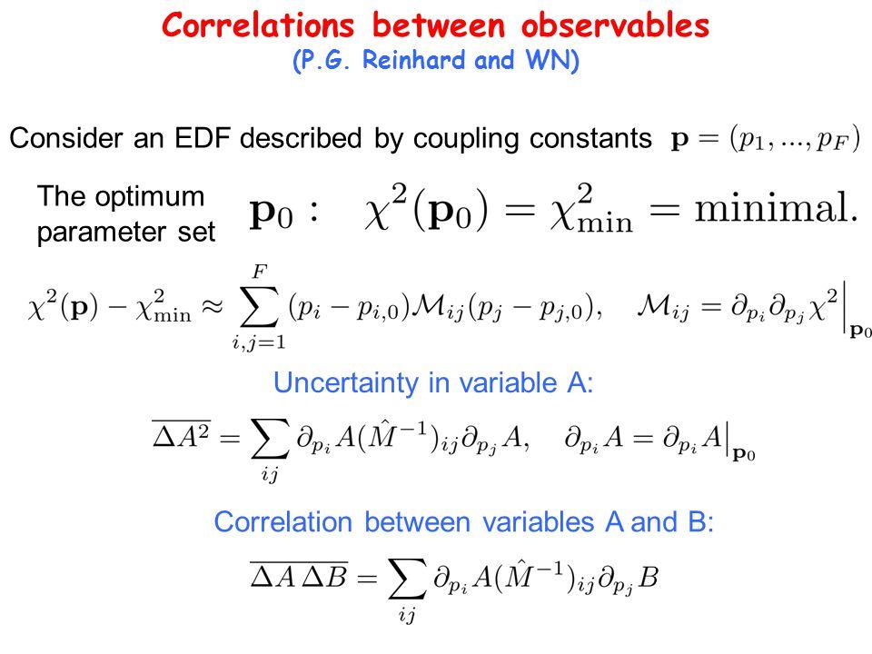Correlations between observables (P.G.