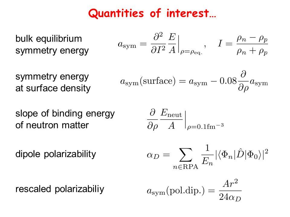 Quantities of interest… bulk equilibrium symmetry energy at surface density slope of binding energy of neutron matter dipole polarizability rescaled p