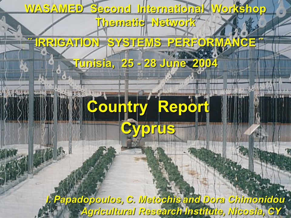 WASAMED Second International Workshop Thematic Network ¨ IRRIGATION SYSTEMS PERFORMANCE ¨ Tunisia, 25 - 28 June 2004 I.