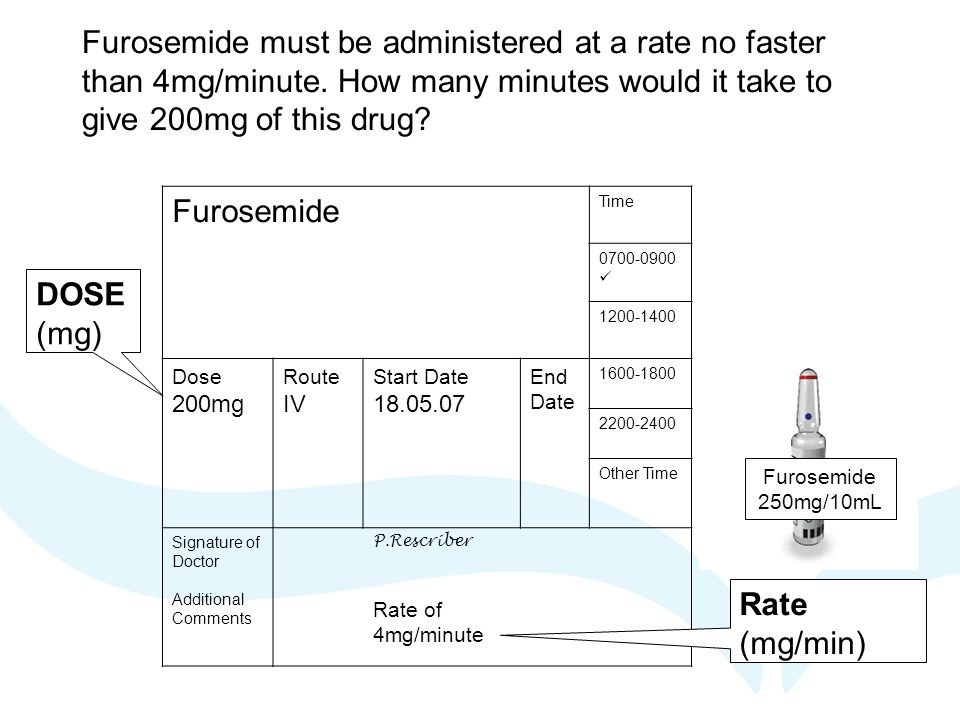 Furosemide must be administered at a rate no faster than 4mg/minute.