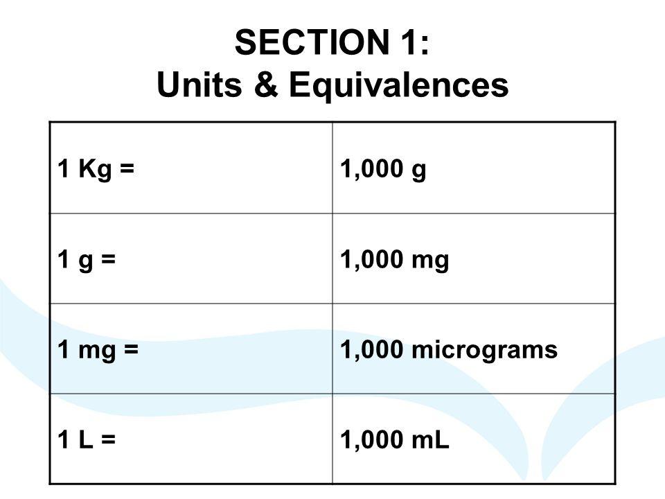 SECTION 1: Units & Equivalences 1 Kg =1,000 g 1 g =1,000 mg 1 mg =1,000 micrograms 1 L =1,000 mL