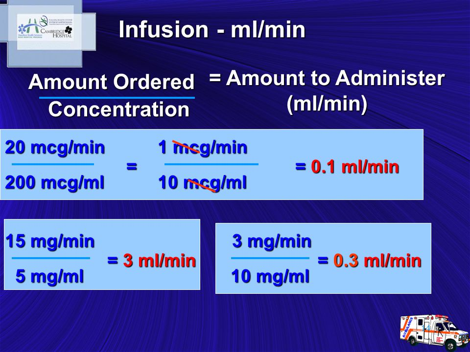 14 = Amount to Administer (ml/min) Concentration Amount Ordered 200 mcg/ml 10 mg/ml 10 mg/ml 5 mg/ml 5 mg/ml 20 mcg/min = 0.1 ml/min 15 mg/min = 3 ml/